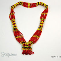 Tribal Statement Necklace - Red Ethnic Mandaya Beaded Jewelry