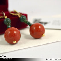 ARIES EARRINGS - Large Red Jasper Ball and Small Green Jasper Beads