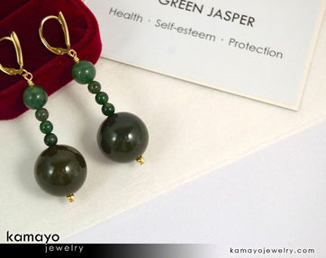 Green Jasper Earrings - Beaded Dangle Ear Rings For Women