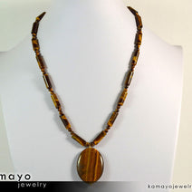 TIGER EYE NECKLACE - Large Oval Yellow Pendant and Golden Beads