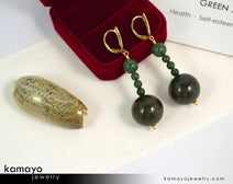 "GREEN JASPER EARRINGS <span class=""subtitle"">- Beaded Dangle Ear Rings for Women </span><span class=""subtitle"">- Large Dark Green Ball Pendant </span><span class=""findings"">- 14K Gold Filled Leverback </span>"