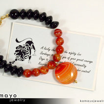 LEO BRACELET - Coin Sardonyx Pendant and Black Onyx Beads