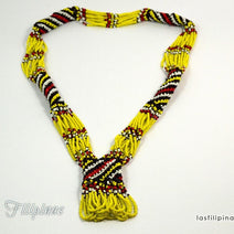 "TRIBAL STATEMENT NECKLACE <span class=""subtitle"">- Yellow Ethnic Mandaya Beaded Jewelry </span>"