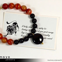 LEO BRACELET - Black Onyx Pendant and Sardonyx Beads