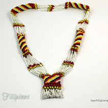 "TRIBAL STATEMENT NECKLACE <span class=""subtitle"">- White Ethnic Mandaya Beaded Jewelry </span>"