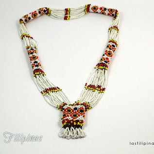 Tribal Statement Necklace - White Ethnic Mandaya Beaded Jewelry