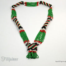 "TRIBAL STATEMENT NECKLACE <span class=""subtitle"">- Green Ethnic Mandaya Beaded Jewelry </span>"