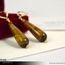 TIGER EYE EARRINGS - Long Drop Ear Rings for Women