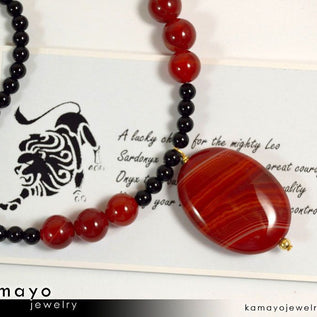 LEO NECKLACE - Oval Sardonyx Pendant and Black Onyx Beads