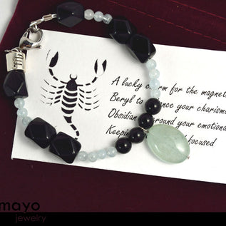 "SCORPIO BRACELET <span class=""subtitle subtitle-1"">- Translucent Aquamarine Pendant and Black Obsidian Beads </span>"