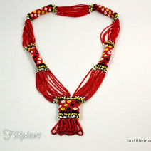 "TRIBAL STATEMENT NECKLACE <span class=""subtitle"">- Red Ethnic Mandaya Beaded Jewelry </span>"