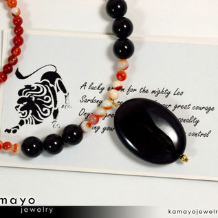 LEO NECKLACE - Black Onyx Pendant and Sardonyx Beads