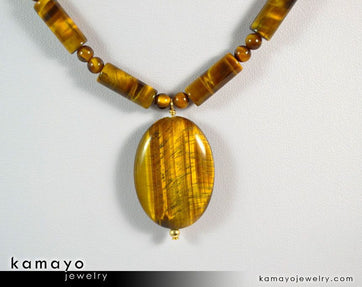 Yellow Tigers Eye Necklace - Oval Tiger Eye Pendant And Golden Tiger'S Eye Beads