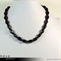 BLACK OBSIDIAN NECKLACE - Men's Choker or Princess Necklace for Women
