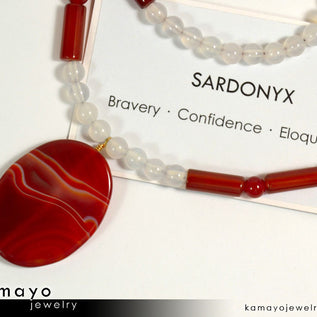 SARDONYX NECKLACE - Large Oval Red Sardonyx Pendant and White Onyx Beads