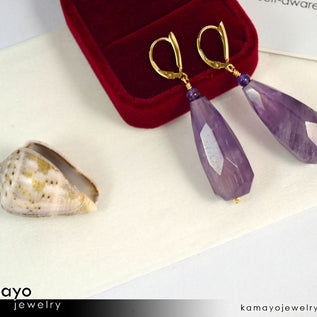 AMETHYST EARRINGS - Large Drop Ear Rings for Women