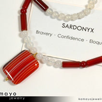 SARDONYX NECKLACE - Rectangle Sardonyx Pendant and White Onyx Beads