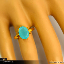 "Gold CHALCEDONY Ring <span class=""subtitle subtitle-1"">- 10x8mm Aqua Blue Chalcedony Ring for Women </span><span class=""subtitle subtitle-2"">- 18K Gold </span><span class=""subtitle subtitle-3"">- </span>"