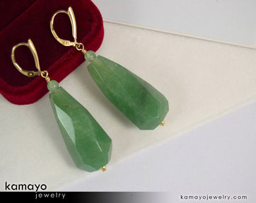 Green Aventurine Earrings - Large Drop Ear Rings For Women