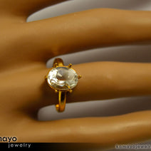 Gold CLEAR QUARTZ Ring - 10x8mm Rock Crystal Ring for Women