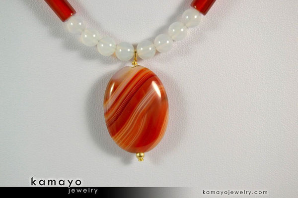 SARDONYX NECKLACE - Oval Red Sardonyx Pendant and White Onyx Beads