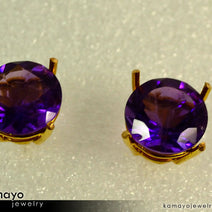 Gold AMETHYST Earrings - 10mm-big Amethyst Stud Earrings