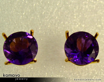 Gold AMETHYST Earrings - 10mm-big Amethyst Stud Earrings - 18K Gold Ear Tops