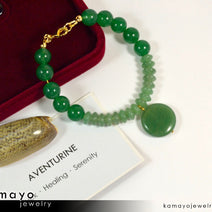GREEN AVENTURINE BRACELET - Natural Light Green Pendant and Dark Green Beads