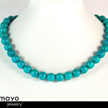 BLUE TURQUOISE NECKLACE - Round Beads - Womens' Beaded Choker