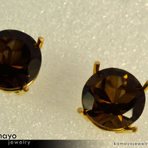 Gold SMOKY QUARTZ Earrings - 10mm-big Smoky Quartz Stud Earrings
