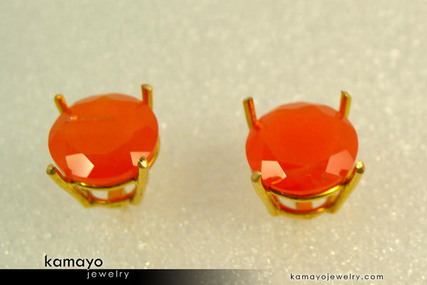 Gold Carnelian Earrings - 10Mm-Big Orange Carnelian Stud Earrings