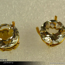 Gold ROCK CRYSTAL Earrings - 10mm-big Round Clear Quartz Stud Earrings