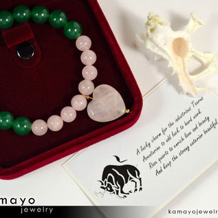 TAURUS BRACELET - Heart Rose Quartz Pendant and Green Aventurine Beads