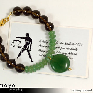 LIBRA BRACELET - Green Aventurine Pendant and Smoky Quartz Beads