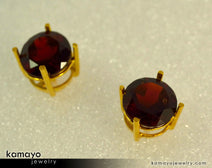 Gold GARNET Earrings - 8mm Red Garnet Stud Earrings - 18K Gold Ear Tops