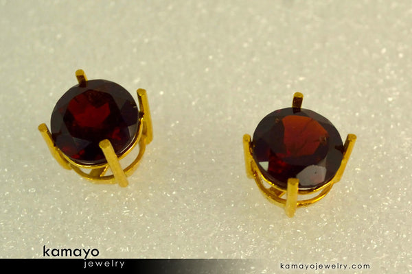 Gold GARNET Earrings - 8mm Red Garnet Stud Earrings