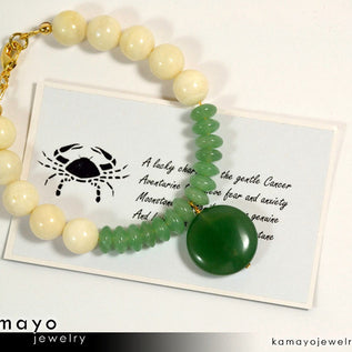 CANCER BRACELET - Green Aventurine Pendant and Moonstone Beads