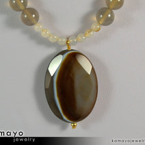 BOTSWANA AGATE NECKLACE - Grey Botswana Agate Pendant and Round Beads