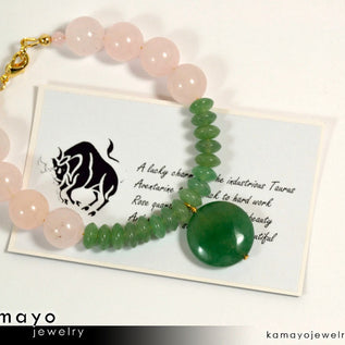 TAURUS BRACELET - Coin Green Aventurine Pendant and Rose Quartz Beads