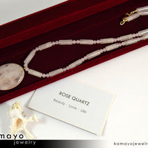 Rose Quartz Necklace - Large Oval Pendant And Natural Beads