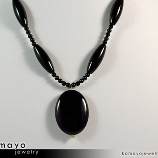 BLACK ONYX NECKLACE - Large Oval Pendant and Round Beads