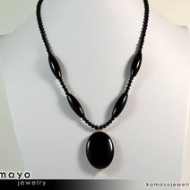 Black Onyx Necklace - Large Oval Pendant And Column Beads