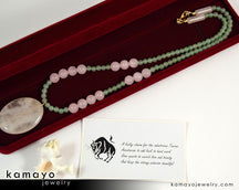 Taurus Necklace - Large Rose Quartz Pendant And Green Aventurine Beads