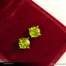 Gold PERIDOT Earrings - 8mm Green Peridot Stud Earrings