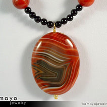 LEO NECKLACE - Large Oval Sardonyx Pendant and Black Onyx Beads