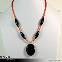 LEO NECKLACE - Large Black Onyx Pendant and Sardonyx Beads