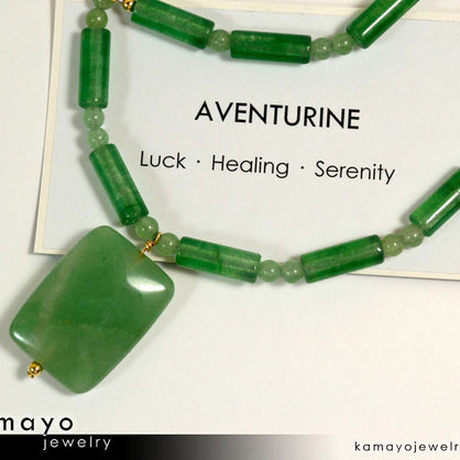 GREEN AVENTURINE NECKLACE - Rectangle Aventurine Pendant and Round Beads