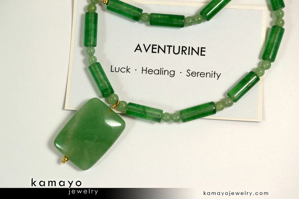 Green aventurine necklace rectangle aventurine pendant and round green aventurine necklace rectangle aventurine pendant and round beads aloadofball Image collections