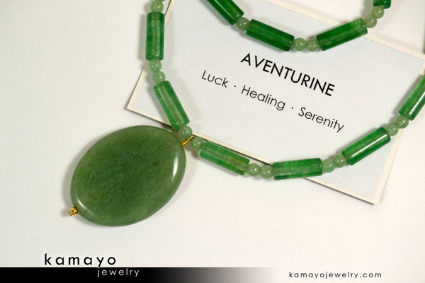 GREEN AVENTURINE NECKLACE - Large Oval Aventurine Pendant and Round Beads