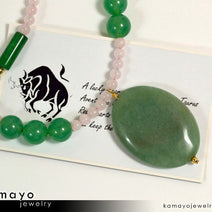 TAURUS NECKLACE - Large Green Aventurine Pendant and Rose Quartz Beads